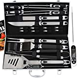 ROMANTICIST 21pc BBQ Grill Accessories Set with Thermometer - The Very Best Grill Gift for Everyone on Christmas - Heavy Duty Stainless Steel Grill Utensils with Non-Slip Handle in Aluminum Case