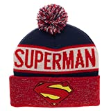 Superman Reflective Winter Pom Beanie  One Size ,Red