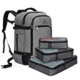 Hynes Eagle Travel Backpack 40L Flight Approved Carry on Backpack Light Grey with 3PCS Packing Cubes 2018