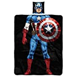 Marvel's Captain America, 'Being the First Avenger' 11' Pillow and Fleece Throw Blanket Set, 40' x 50', Multi Color