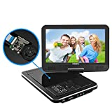 SYNAGY 10.1' Portable DVD Player CD Player with Swivel Screen Remote Control Rechargeable Battery Car Charger Wall Charger, Personal DVD Player(Black)