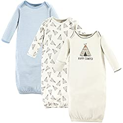 Touched by Nature Baby Organic Cotton Gowns, Teepee 3-Pack, 0-6 Months