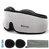 HOMMINI Sleep Mask, Eye Mask for Sleeping, 3D Breathable Memory Foam Contoured Modular Nap/Travel Sleeping mask, Light Blockout with Adjustable Anti-Slip Gel/Ear Plugs/Travel Pouch for Men Women Kids