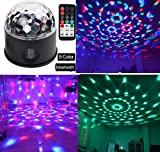 Bluetooth +Speaker Party Light Disco Lights 9 Colors 9W Magic Ball Projector Stage Lights Strobe Club lights Effect Mini LED Lights Wireless Phone Connection with Remote Connection for Decoration
