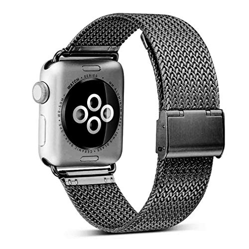 OROBAY Compatible with Apple Watch Band 42mm 44mm, Stainless Steel Milanese Loop Replacement Band Compatible with Apple Watch Series 4 Series 3 Series 2 Series 1, Space Gray