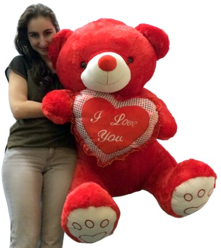 Giant Valentines Day Red Teddy Bear Soft With Bigfoot Paws Holds I