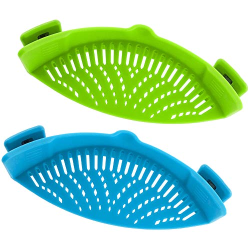 Snap Strainer, DaKuan 2 Packs of Hands-free Clip-on Heat Resistant Colander Pour Spout for Pasta Vegetable Noodles Pot bowl Pan