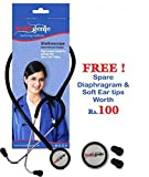 Healthgenie 14377 Hg-201B Dual Aluminium Non Chill Stethoscope (Black)