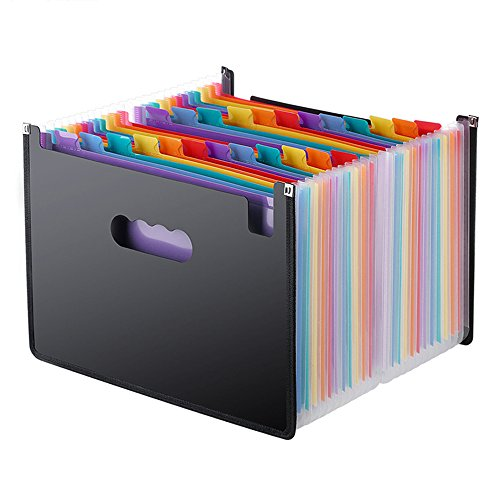 Expanding File Folder 24 Pockets, Multi-Color Accordion A4 Document Organizer with Expandable Wallet Stand - Works on A4 Size and Letter Size