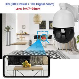 Outdoor-5MP-PTZ-IP-POE-Dome-Security-Camera-30x-Optical-Zoom-Pan-Tilt-250FT-IR-Night-Vision-Motion-Detection-Remote-View-Onvif-RTSP-Audio-Support-45inch