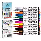 Paint Pens for Rock Painting - Ceramic, Wood, Metal and Glass. Set of 12 Vibrant Fine Tip Paint Markers, Fast Drying, Water Resistant