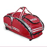 NO Errors NO E2 Catchers Bag with Fatboy Wheels - Wheeled Baseball Equipment Gear & Helmet Bags (Red)