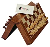 SouvNear 10.5' Wood Chess Set - Handmade Premium Magnetic Folding Chess Board - Wooden Travel Staunton Chess Game with Built in Storage - Christmas & Holiday Gift Deals