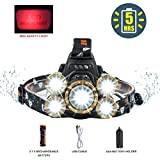 COSOOS Headlamp Flashlight,USB Rechargeable Headlamp with Battery,Red Safty Light, Brightest 4-Mode LED Headlamp, Waterproof Zoomable Headlight for Hunting,Hardhat,Father Day Gift, Support AAA Battery