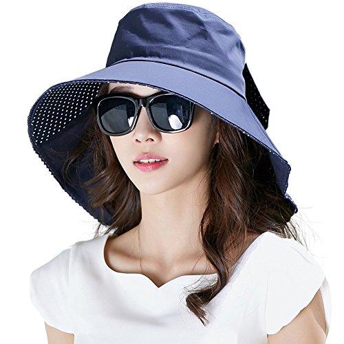 Womens Sun Protection Hats Summer Gardening Fishing Hiking Shade Hat SPF 50 Wide Brim Packable Small Navy Siggi
