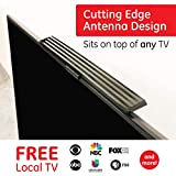 GE UltraPro Hover Bar Indoor TV Antenna, Perfect Home Decor Long Range TV Antenna, Digital, HDTV Antenna, Smart TV Compatible, 4K 1080p VHF UHF, 6' Coax Cable, Amplifier, Signal Booster, Black, 37075