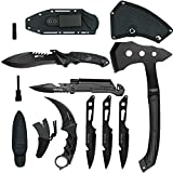 Blade Factory 7pc Tactical Set Full Tang Fixed Blade Knife Spring Assisted Multi Tool Pocket Knife Karambit Claw Knife Tomahawk Throwing Axe 3pc Throwing Knives Set | Free Holt Multi-Tool Key Chain