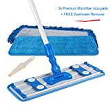 ALLZONE Professional Microfiber Mop for Hardwood Laminate Floor, Adjustable Aluminum Handle, 360 Degree Rotatable Mop Frame, 3 Premium Reusable Wet | Dry Mop Pads- 1 Year Warranty