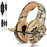 AFUNTA Gaming Headset Compatible PS4 New Xbox one PC Mac, ONIKUMA Over Ear 3.5mm Headphones with Mic Noise Isolating Deep Bass Surround for Game Camouflage