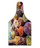 Ambesonne Spice Cutting Board, Dried Herbs Flower Spices in the Bazaar in Deira Dubai Traditional Tastes, Decorative Tempered Glass Cutting and Serving Board, Wine Bottle Shape, Orange Purple