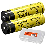 Nitecore NL1835HP 3500mAh High Performance Li-ion Rechargeable Batteries (Pair) for High Drain Flashlights Like EC23, HC33, MH12GTS, Fury with LumenTac Battery Organizer