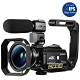 Ordro AC3 4K Camcorder WiFi Video Camera(1080P 60FPS,30X Digital Zoom,Touch Enabled 3.1-Inch 270 Degree Flip Screen,Infrared Night Vision,Microphone,Wide Lens, Lens Hood,2 Batteries)- Black