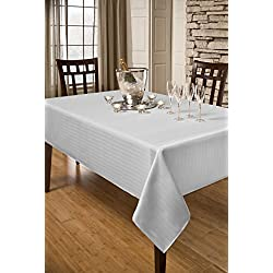 Creative Dining Group Herringbone Weave Spillproof Tablecloth, 60 by 84-Inch, White