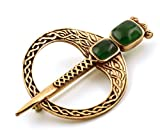LynnAround Bronze Green Agate Celtic Knot Tara Brooch and Pins Norse Vintage Thailand Made Jewelry (Brooch V.2)
