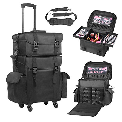 097ad58cbd89af Voilamart Rolling Makeup Case Trolley 2 in 1 Travel Cosmetic Train Cases on  Wheels - Nylon