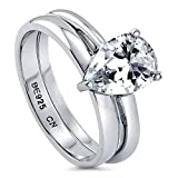 BERRICLE Rhodium Plated Sterling Silver Pear Cut Cubic Zirconia CZ Solitaire Engagement Wedding Ring Set 1.8 CTW Size 7
