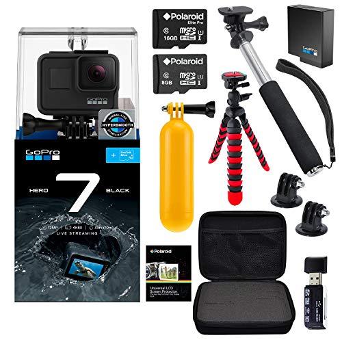 GoPro Hero7 Hero 7 Black Action Camera + GoPro Battery + Polaroid 8GB 16GB SDHC Memory + Monopod + Flexi-Tripod + Float Handle + Hard Shell Case + Card Reader + Extras