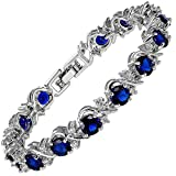 RIZILIA Blossom Round Simulated Blue Sapphire and White Cubic Zirconia 18K White Gold Plated Tennis Bracelet, 7'