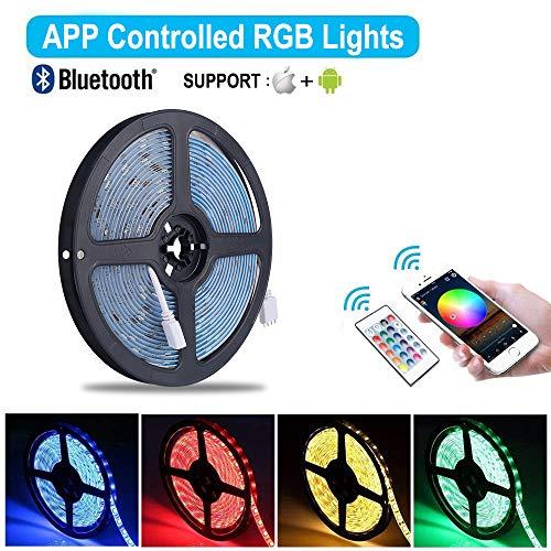 Striscia LED RGB 10M Musica, ALED LIGHT LED Strip Bluetooth RGB Striscia, IP65 Impermeabile 12V Striscia, Bluetooth + 24 Tasti Telecomando, Nastri Led Smartphone Android e IOS Controllato da APP