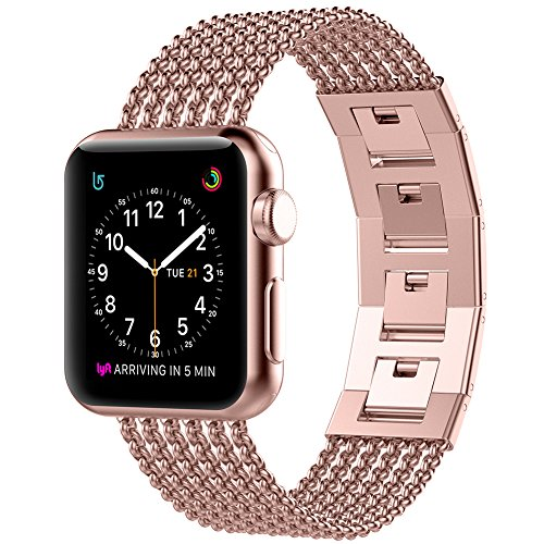 Glebo Compatible with Apple Watch Band 42mm 44mm Rose Gold Women, Adjustable Stainless Steel Straps Bangle Band Replacement Accessories Bracelet for Apple iWatch Band 42mm Series 3 2 1, 44mm Series 4