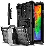LG Q7 Case, LG Q7 Plus Case, lovpec Kickstand [Heavy Duty Protection] Swivel Belt Clip Holster Full Body Armor Protective Shockproof Phone Case Cover for LG Q7 / LG Q7+ / LG Q7 Alpha (Black)