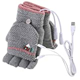 Midress USB Heated Gloves,Women Men USB Heated Mitten Full&Half Finger Winter Warm Knit Hand Gloves,Ultra Soft Comfort Laptop Warm Glove (A)