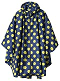 Stylish Unisex Hooded Waterproof Rain Poncho with Zipper Outdoor Windbreak Colorful Ripple Rain Jacket (Yellow Point)