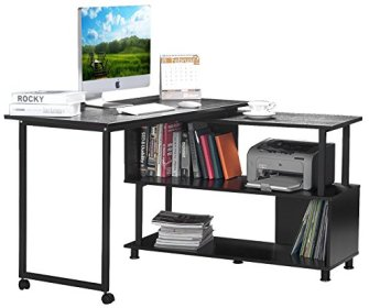 Merax Rotatable Computer Desk Home Office Furniture L-Shaped with Wheels