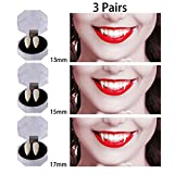 Dee Banna 3 Pairs Vampire Teeth for Halloween, Zombie Ghost Devil Werewolf Fangs for Costume Party Halloween Horror Props (13mm,15mm,17mm)