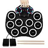 9 Pads Electronic Drum Set Roll up LED Lights Pratice Drum,Bluetooth,MIDI,Built-in Speaker,Long...