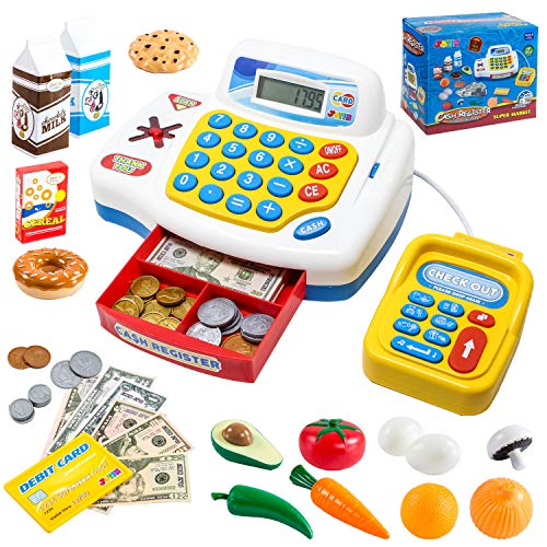 Toy Cash Register Shopping Pretend Play Money Machine with Dual Languages, Scanner, Card Reader and Grocery Play Food Set for Kids Boys and Girls Gifts, Toddler Interactive Learning, Teaching Tools.
