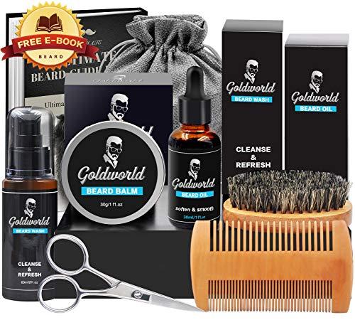 Beard Care & Grooming Kit w/Free Beard Wash/Shampoo, w/Unscented Beard Oil,Beard Balm,Beard Comb,Beard Brush,Beard Scissors,Storage Bag for Beard Care Growth by GoldWorld