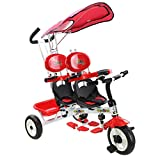 Heize best price Red 4 in 1 Twins Kids Baby Stroller Children Tricycle Training Safety Double Rotatable Seat Learning Toy Bike w/Canopy Basket Parent Handle Control(U.S. Stock)