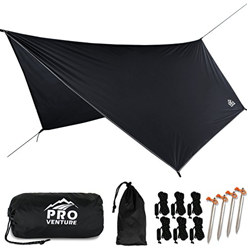 Pro Venture [12 FT Hex] Waterproof Hammock RAIN Fly - Portable Large Rain Tarp - Premium Lightweight Ripstop Nylon - Fast Set Up - Hammock Camping Essential! 12FT x 9FT HEX Shape