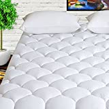 HARNY Mattress Pad Cover Queen Size 400TC Cotton Pillow Top Cooling Breathable Mattress Topper Quilted Fitted with 8-21' Deep Pocket