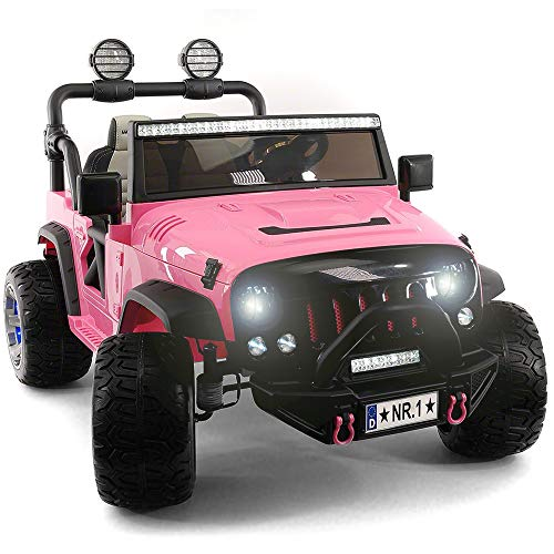 2019 Two Seater Pink Ride On Truck w/ Remote Control for Kids | Large 12V Power Battery Licensed Kid Car to Drive with 3 Speeds, Leather Seat, Foam Rubber Tires