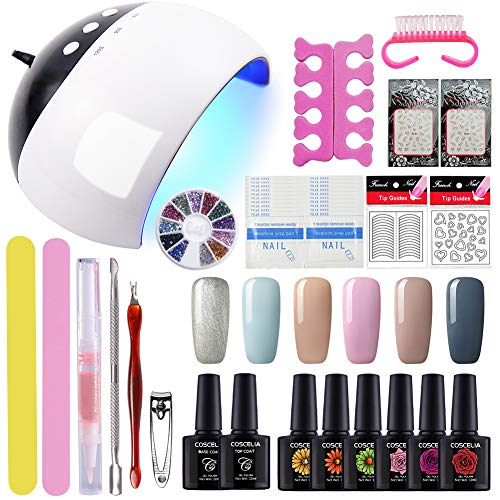 Gelongle 6 Colors Gel Polish Starter Kit 24W LED UV Nail Dryer Curing Lamp Manicure Nail Accessories Tools