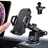 Car Phone Mount Easy Clamp, andobil Hands-Free Phone Holder for Car Dashboard Air Vent Windshield, Super Strong Suction Cup, Compatible for iPhone 8 Plus/8/X/XR/XS/7 Plus/6s Samsung S10/S9/S8, etc.