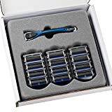 Personna Men's 5 Blade Razor with Bulk Pack of 12 Replacement Razor Cartridges and Shaving Razor Handle (Blue)