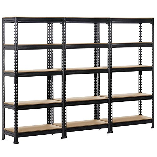 Topeakmart 3 pack Heavy Duty 5 Tier Commercial Industrial Racking Garage Shelving Unit Adjustable Display Stand,59.1' Height